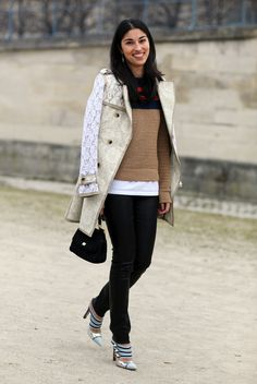 Coat:Two Tone Lace'y TOMMY HILFIGER Trench CoatSweater:Striped SweaterPants:Black Leather LeggingsShoes:LOUIS VUITTON HeelsPhoto By:Phil Oh
