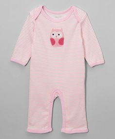 This Pink Stripe Owl Sleep & Play Footie - Infant by René Rofé Baby is perfect! #zulilyfinds