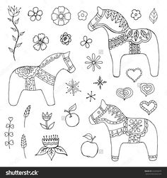 Dala Horses Hand Drawn Set, Isolated On White Background Stock Vector Illustration 422656879 : Shutterstock Swedish Christmas, Scandinavian Christmas, Christmas Crafts, Hand Embroidery Patterns, Diy Embroidery, Horse Coloring Pages, Horse Illustration, Animal Sewing Patterns, Horse Pattern