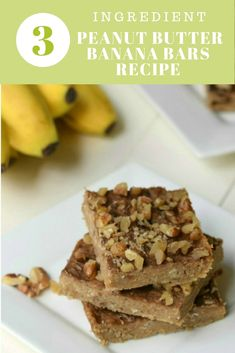 You only need healthy real food ingredients to make these 3 Ingredient Peanut Butter Banana Bars Recipe! They are gluten free, sugar free, and dairy free.