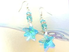 Aqua Starfish Earrings Nautical Jewelry by pnljewelrydesigns, $14.00