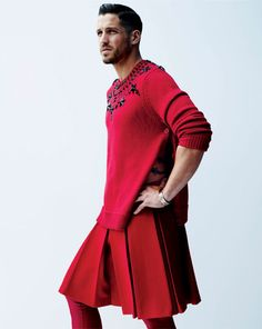 WHY can I not find a man willing to rock a pleated red skirt with matching leggings? Why?