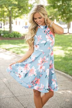 A Serene Sunrise Floral Dress Blue