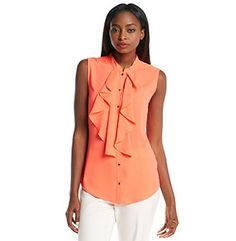 Blouse: Ivanka Trump™ Sleeveless Ruffle Front Top. Add a splash of color with this coral ruffle top.