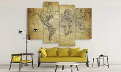 LARGE World Map Retro Canvas Wall Art / Extra by CanvasFactoryCo Large World Map Canvas, Canvas Wall Art, Vintage World Maps, Retro, Trending Outfits, Handmade Gifts, Unique, Kid Craft Gifts, Art On Canvas