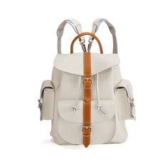 Grafea Villa Bianca Medium Leather Rucksack - White/Tan ($270) ❤ liked on Polyvore featuring bags, backpacks, white leather backpack, zipper bag, grafea backpack, leather rucksack and white backpack