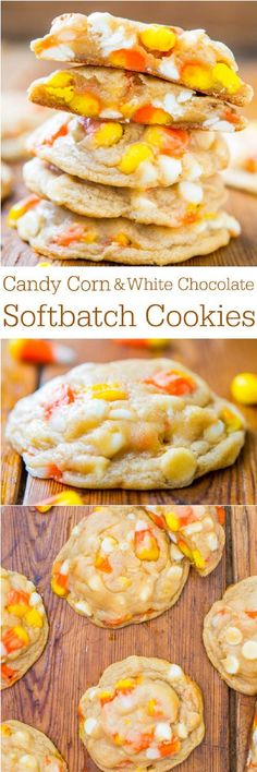 Candy Corn and White Chocolate Softbatch Cookies - 12 Thanksgiving Candy Corn Desserts | GleamItUp #candycorn #whitechocolate #cookies