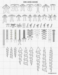 Vector Garment Accessories $24.95 - Bows, Lacings, Cascades - scaled to fit perfectly with our Mix&Match Fashion Sketch Templates