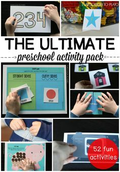 The Ultimate Preschool Activity Pack! 63 printable math, alphabet and fine motor activities. Perfect for kindergarten prep or preschool centers!