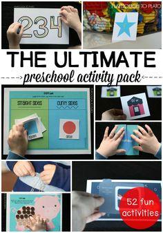 The Ultimate Preschool Activity Pack! 63 printable math, alphabet and fine motor activities. Perfect for kindergarten prep or preschool centers!