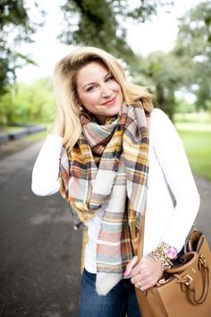 Jeans + Plaid Blanket Scarf + White Tee + Tory Burch