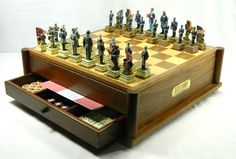 Civil War Soldiers Pieces Complete Chess Game Set The History Channel Club Life US Military Parts Wooden Box Drawer Multiple Games Dominoes Checkers Detailed Decorative Union #Military #ClubLife