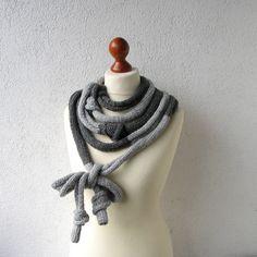 Knitted  Necklace Big Grey Necklace  Skinny Scarf by AlbadoFashion, $38.00
