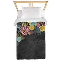 Chalkboard Illustration Modern Floral Invitation Twin Duvet