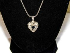 Sterling Silver necklace with marcasite black onyx heart locket MA25