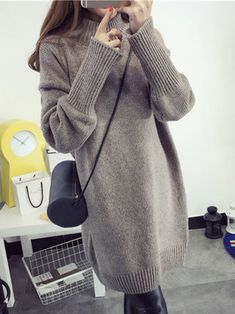254361082f Casual H-line Knitted Long Sleeve Sweater Winter Sweaters