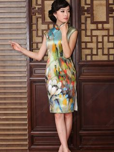 Women's Silk Knee-length Sleeveless Cheongsam Dress - USD $ 307.00