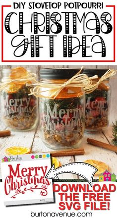Christmas Neighbor Gift Idea - Stovetop Potpourri - Burton Avenue Make this stovetop potpourri gift for neighbors, family, and friends. Use your Cricut or Silhouette to add a pretty desi. Neighbor Christmas Gifts, Neighbor Gifts, Christmas And New Year, Christmas Crafts, Christmas Bingo, Santa Gifts, Christmas Stuff, Christmas Ornaments, Dried Orange Slices
