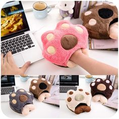 [Visit to Buy] Cute paws warm in winter USB heated mouse pad with wrist, hand warmers heating pad P2619 #Advertisement