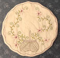 Stitchery Patterns | Primitive Stitchery Candle Mat PATTERN Basket Of by thetalkingcrow