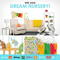 This is the biggest prize package we've EVER shared - basically everything you need BUT the baby! Want to win? Enter by visiting us at Facebook.com/4moms!  #Nursery #Organic #Modern #Baby #Sweepstakes #4moms #Zutano #Mobile #Crib #Glider #Layette