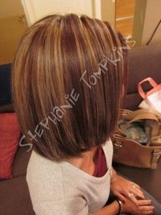 Love the color! Dark brown hair with caramel highlights.