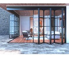 Custom Steel Grid Accordion Bi-Fold Glass Door - - Abby Iron Doors - September 26 2019 at House Design, French Doors, Interior Barn Doors, Exterior Doors With Glass, Glass Doors Patio, House Exterior, Steel Windows, New Homes, Doors Interior