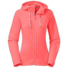 The North Face Women's Mezzaluna Hoodie ($70) ❤ liked on Polyvore featuring tops, hoodies, tropical coral, the north face hoodie, red top, thin hooded sweatshirt, the north face hoodies and red hoodie