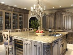 Huge Kitchen Island (gorgeous) And who would think grey would be pretty?