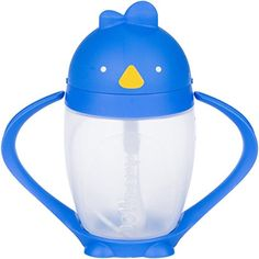 Lollaland Lollacup http://amzn.to/2jc7pgW  Infant/Toddler Sippy Cup with Straw.  VALVE-FREE sippy-straw cup allows infants as young as 9 months old to easily and effectively drink from straw. Straw with weighted end makes it easy to use and straw cleaning brush (included) makes it easy to clean. Made in the USA.