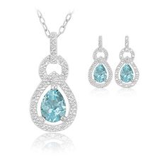 $15.99 - 2 Carat Teardrop Blue Topaz Genuine Diamond Accent Sterling Silver Pendant and Earring Set
