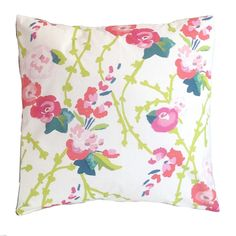 The pillow is printed on cotton twill and is down filled. The pillow measures 22