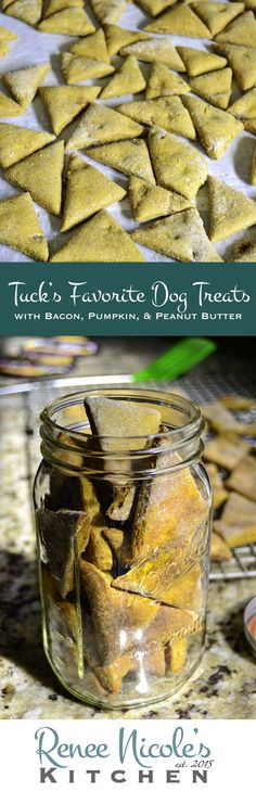 Tuck's favorite dog treats, with bacon, pumpking, and peanut.