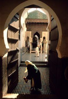 Morocco.Fez.Qaraouiyyin Mosque.Kiosk that surrounds the center courtyard. 1984