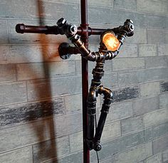Items similar to Industrial Pipe Lamp - Pipe Light - Table Lamp - Lamp - Steampunk - Desk Lamp - Table Light - Childrens Light - night light -bar Light on Etsy Industrial Pipe, Industrial Lighting, Lampe Steampunk, Pipe Decor, Pipe Lighting, Diy Pipe, Metal Art Projects, Black Pipe, Pipe Furniture