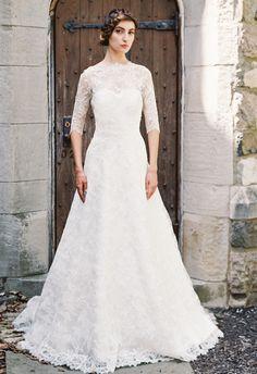 Lace A-Line Wedding Dress | Sareh Nouri Wedding Dresses Fall 2015 | Blog.theknot.com
