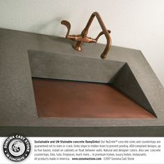 Ramps, waves & troughs–you'll #love #sonomacaststone #concrete #sinks in your tasting room. Award-winning, ADA-compliant designs feature slot drains, no visible plumbing and a subtle slope to prevent pooling for easy cleaning. Our NuCrete™️ concrete is sustainable & UN-stainable, guaranteed for ten years. Choose style, size, basins, natural and designer colors. All #countertops, #sinks, #tiles made in the US. #interiordesign #architecture #bathroom #winemaking  Get info…