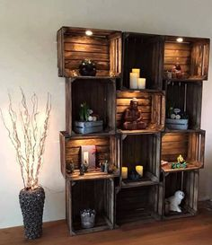 I love this idea with the lighting. I would make sure I would bolt the entire thing to the wall so it doesn't tumble over.