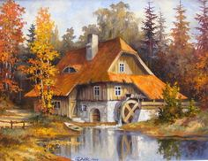 Stanislaw Wilk is an Polish painter, known for his beautiful Abstract rivers Landscape. The artist uses golden palette that makes the pictures very radiant and glowing. Cottage Art, Painted Cottage, Dream Pictures, Beautiful Pictures, Kinkade Paintings, Creation Photo, Water Mill, Bob Ross, Cross Paintings