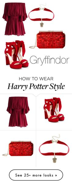 """Gryffindor-Victory Ball"" by heir-of-ravenclaw on Polyvore featuring Chicwish, Oscar de la Renta, Warner Bros. and Jimmy Choo"