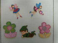 Coordinato bambini. Sagome in legno dipinte a mano, fatine, elfo e fiori
