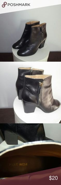 Nine West bootie Black chunky heeled bootie with gold zipper detail; comfy and cute Nine West Shoes Ankle Boots & Booties