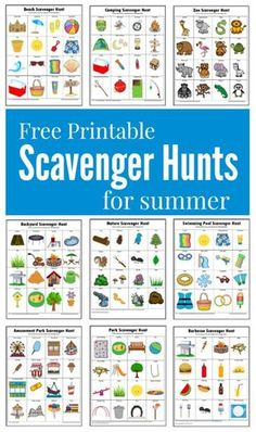 Hunts {Free Printables} These summer themed scavenger hunts will keep your kids busy and entertained this summer.These summer themed scavenger hunts will keep your kids busy and entertained this summer. Summer Scavenger Hunts, Nature Scavenger Hunts, Scavenger Hunt For Kids, Kindergarten Scavenger Hunt, Outdoor Scavenger Hunts, Photo Scavenger Hunt, Summer Activities For Kids, Camping Games For Kids, Camping Bingo
