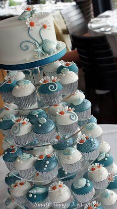 Seashells & Daisies cupcake tower