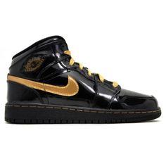 Nike Air Jordan  girls black metallic gold