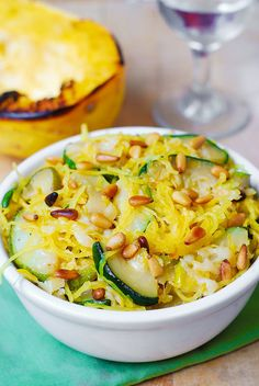 Parmesan Zucchini & Spaghetti Squash with Pine Nuts Recipe on Yummly. @yummly #recipe Zucchini Pasta Recipes, Veggie Recipes, Zucchini Parmesan, Spaghetti Squash Pasta, Garlic Spaghetti, Zucchini Spaghetti, Vegetable Dishes, Vegetarian Recipes, Healthy Eating Recipes