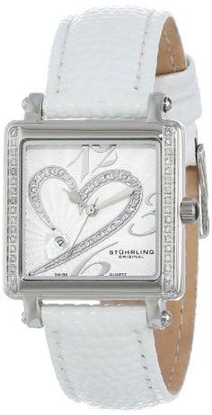 Stuhrling Original Women's 253S2.MPN.1115P2 Amour Aphrodite Courtly La Femme Diamond Swiss Quartz Date White Leather Strap Watch