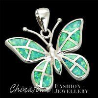 "1/"" Wide Butterfly Kiwi Green Fire Opal Inlay Silver Jewelry Necklace Pendant"