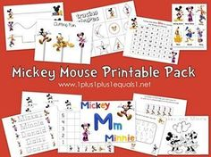 Free Mickey Mouse and Friends printables for tots, preschoolers and kindergartners.