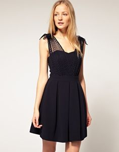 Navy Melissa dress with net overlay detail by Whistles. It has a sweetheart design to the neckline w/ spot mesh overlay, ruched shoulders, fitted waistband, deep box pleats to the A-lin skirt, an open back & hook and eye closure<3
